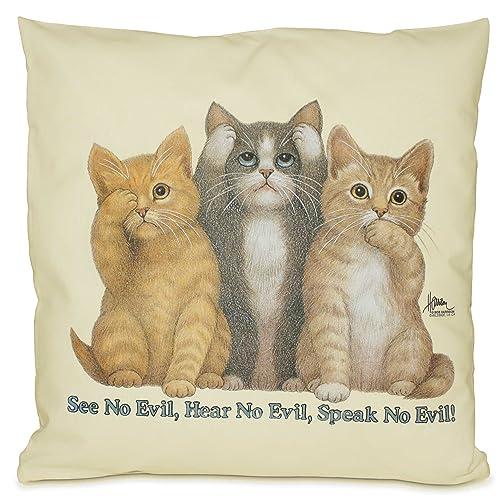 Die Drei Weisen Katzen   Knuddeliges Designer Kissen Mit Katzenmotiv 40x40  Cm Katzenkissen Dekokissen Zierkissen Mit