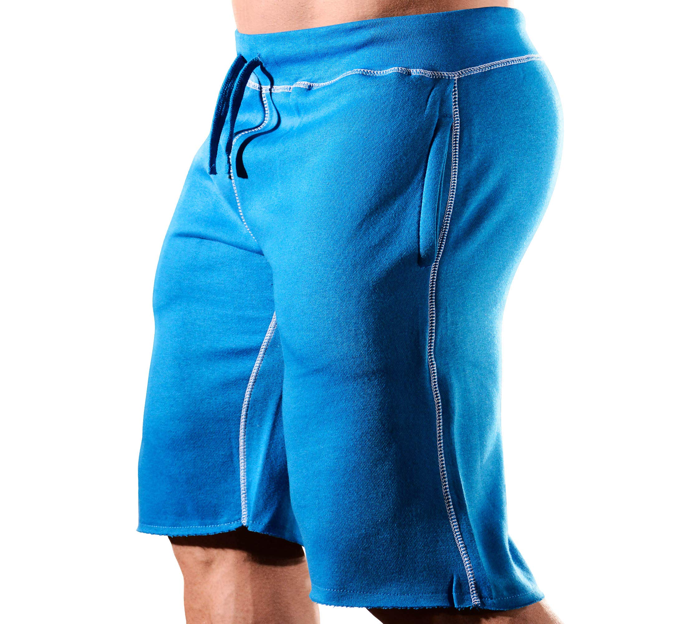 HRD LVN Mens Workout Shorts Classic (Small, Blue Sweat Shorts) by Monsta Clothing Co.