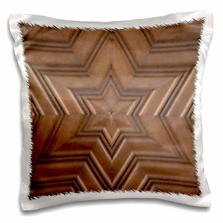 3dローズInspirationzStore Judaica – ダビデの星星 – フォト印刷のWood Carving – ブラウン木製Jewシンボル – Judaism – ユダヤGifts – 枕ケース 16 x 16