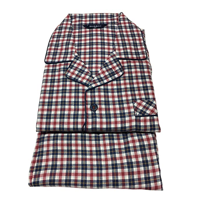 l'ultimo f19c5 6bbec GUASCH pigiama uomo flanella blu/rosso 100% cotone mod PC421 D.655