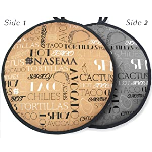 """Best-Looking Tortilla Warmer Pouch with Two Sides! 11.5"""", Microwavable to enjoy 1 Hour of Warm Bread"""