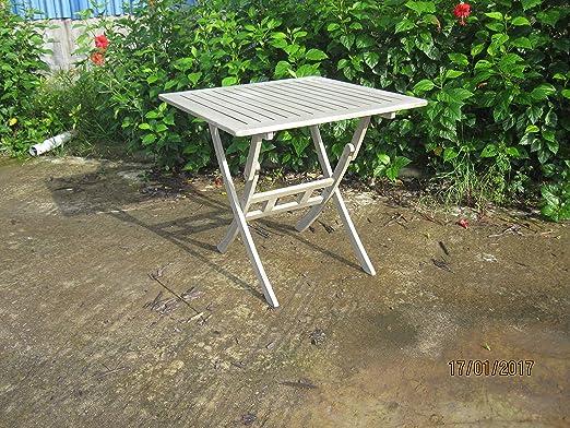 mesa plegable madera acacia lacado gris 80 x 80 x 74h arredo exterior: Amazon.es: Jardín