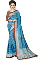 e-VASTRAM Womens Crepe Printed Art Silk Saree(V3117_Blue)