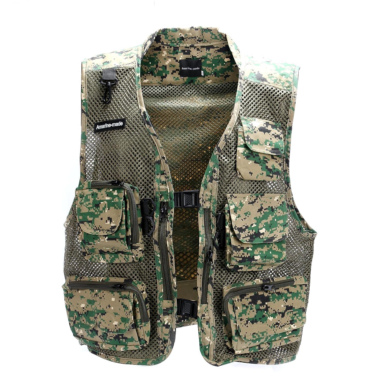 Amarine made men 39 s mesh breathable openwork camouflage for Fishing vest amazon