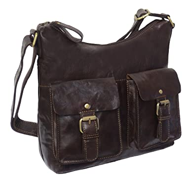 0fc1e3d542c22 Image Unavailable. Image not available for. Colour  ROWALLAN BROWN BUFFALO  LEATHER SHOULDER BAG
