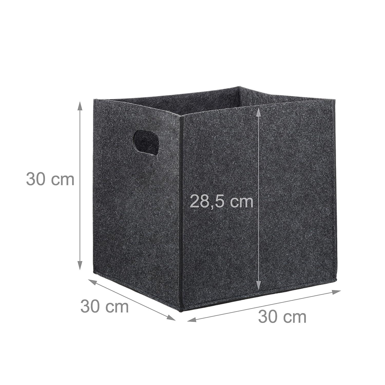 HxWxD: 30 x 30 x 30 cm with 2 Handles Grey Foldable Relaxdays Square Felt Basket Shopping Bin