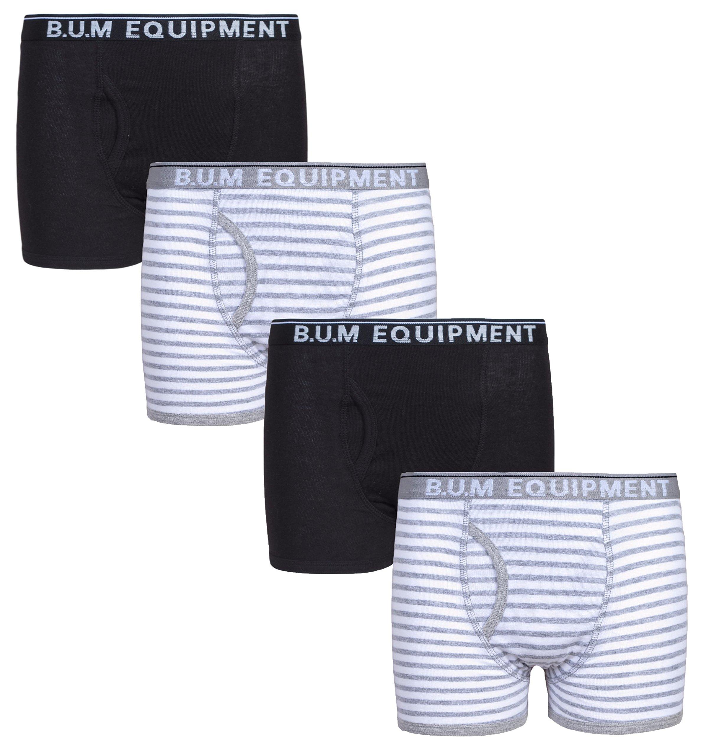 B.U.M. Equipment Boys 4 Pack Solid Underwear Boxer Briefs, Solids and Stripes, Black/Stripes, Medium / 8-10