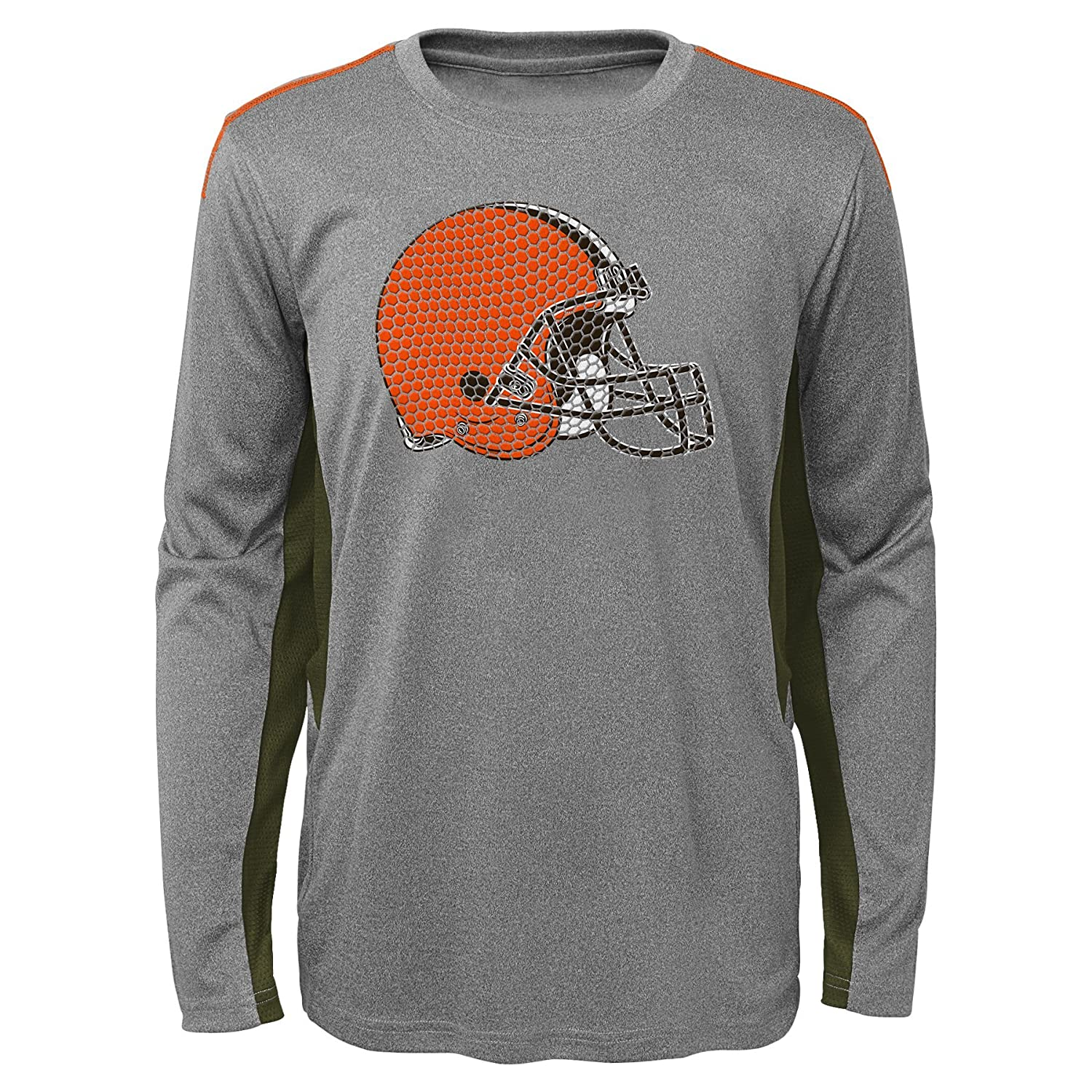 Cleveland Browns Outerstuff NFL Boys 4-7Mainframe Long Sleeve Performance Tee-Light Charcoal-L 7