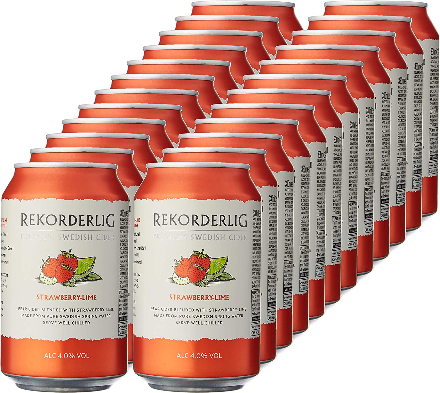 Rekorderlig Premium Strawberry & Lime Cider 24 X 330ml Cans
