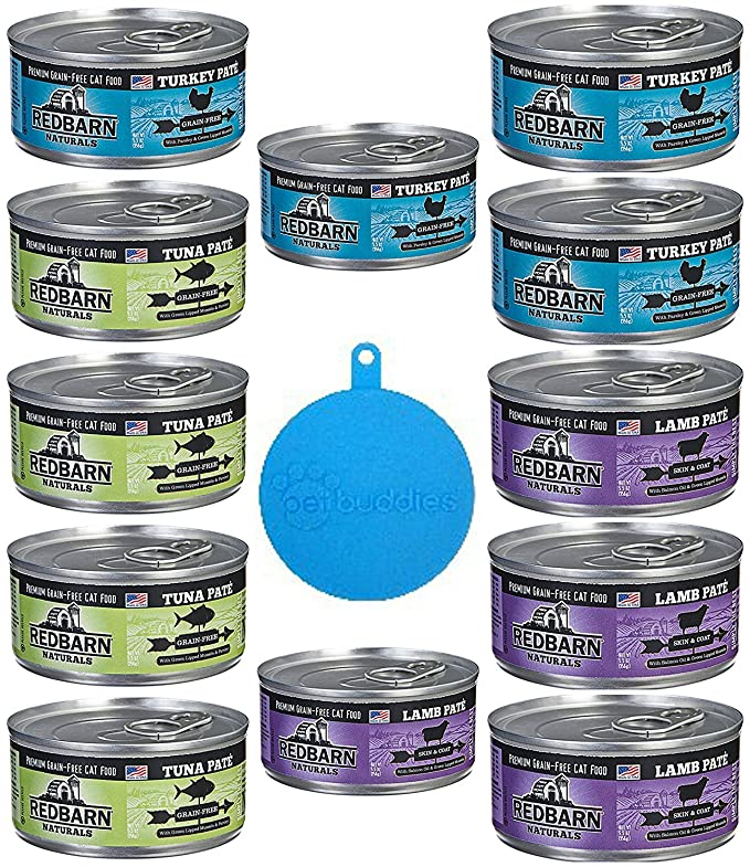 Amazon.com : RedBarn Naturals Grain Free Canned Cat Food Pate in 3 Flavors - Tuna, Lamb, and Turkey - 12 Cans Total, 5.5 Ounces Each - Plus 1 Pet Buddies ...