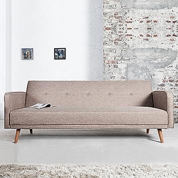 Cagu Retro Design Schlafsofa Goteborg Beige Eiche 210cm Im