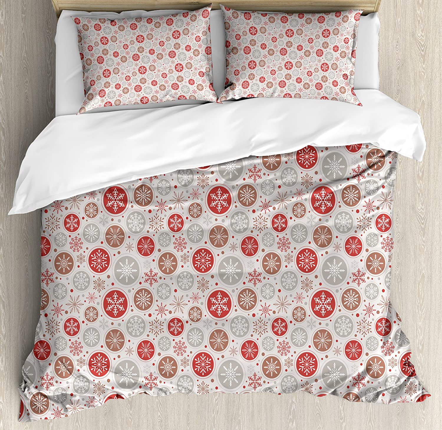 Ambesonne Christmas Duvet Cover Set, Ornate Snowflakes Pattern in Circles Dots Winter Themed Old Fashioned Print, Decorative 3 Piece Bedding Set with 2 Pillow Shams, King Size, Grey Ruby