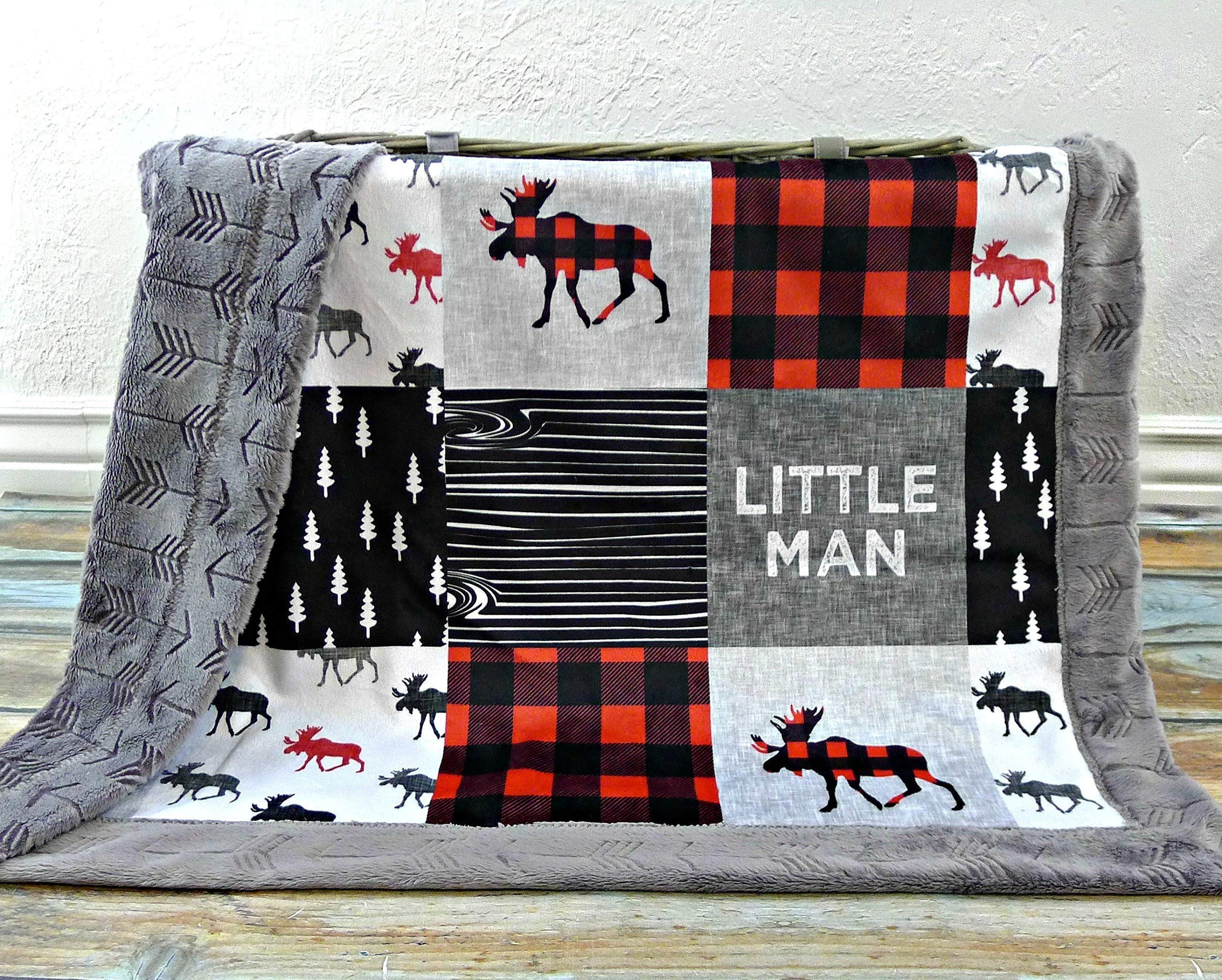 Moose Baby Blanket - Little Man Baby Blanket - Minky Baby Blanket - Black White Red - Woodland Blanket -Baby Blanket - Nursery Decor - Crib Bedding - Faux Patchwork