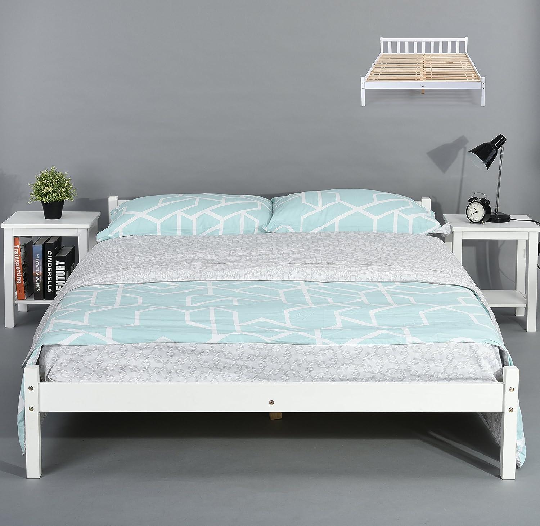 Cadre de lit en pin massif - Espace tiroir sous le lit - Blanc DOUBLE BED FRAME transparent-blanc
