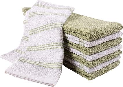 Amazon Com Kaf Home Pantry Piedmont Terry Kitchen Towels Set Of 8