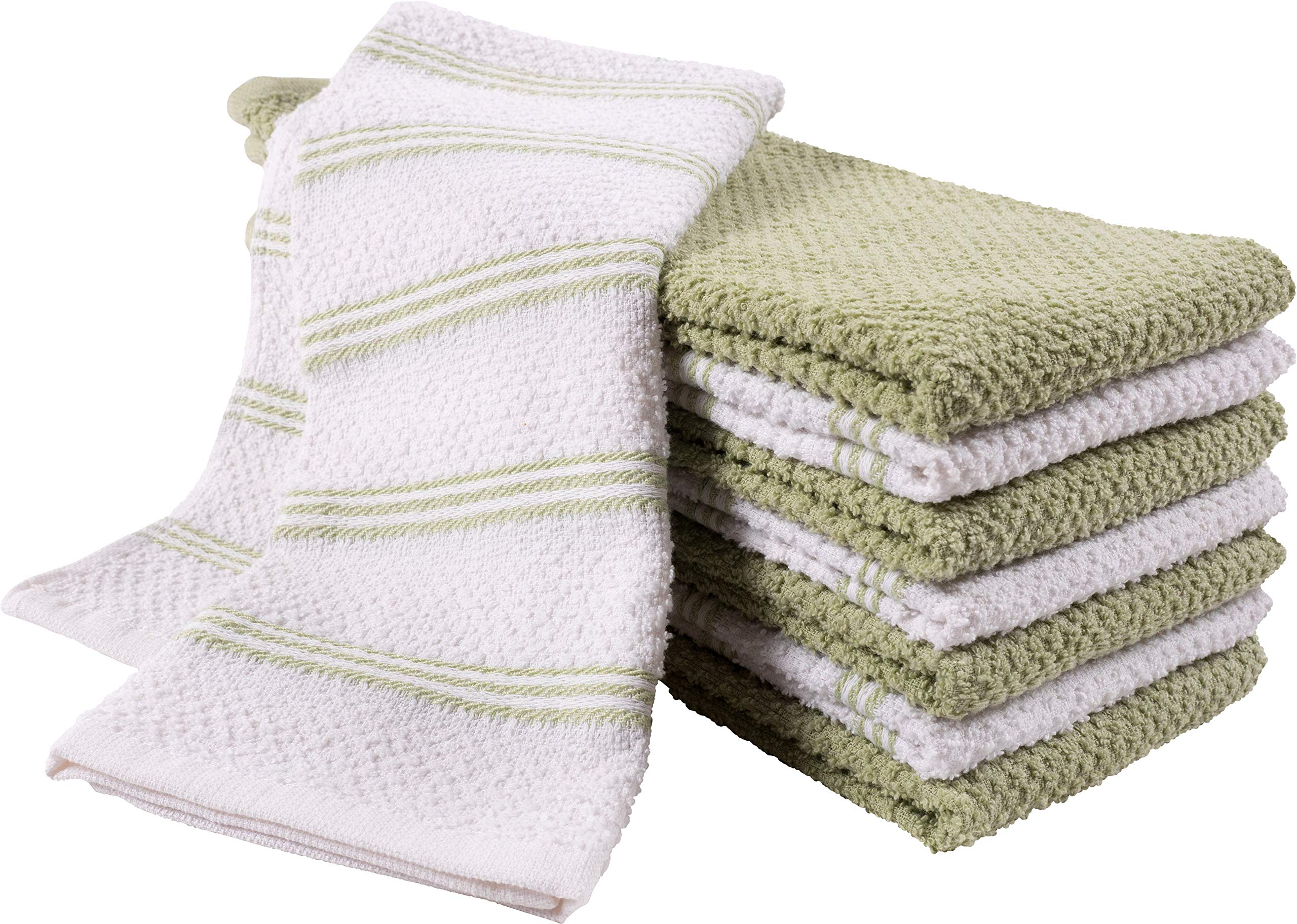 KAF Home Pantry Piedmont Kitchen Towels (Set of 8, 16x26 inches), 100% Cotton, Ultra Absorbent Terry Towels - Sage Green