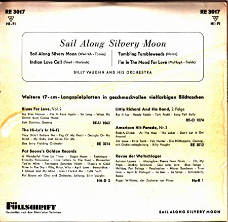 Sail Along Silvery Moon / Indian Love Call / Tumbling Tumbleweeds / I`m In  The Mood For Love / BILLY VAUGHN AND HIS ORCHESTRA / Bildhülle / Deutsche