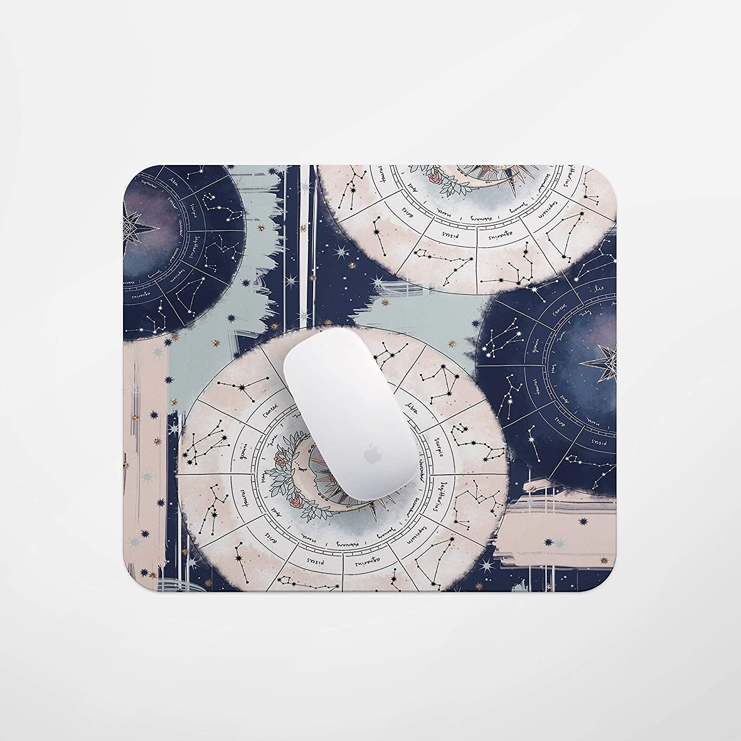 Game Mouse pad for Home and Office Laptop Computer Mouse Pads 12 Constellation Rose Gold Star Blue Pink Womens Special Modern Non-Slip Rubber Thick Mouse pad for Desk PC
