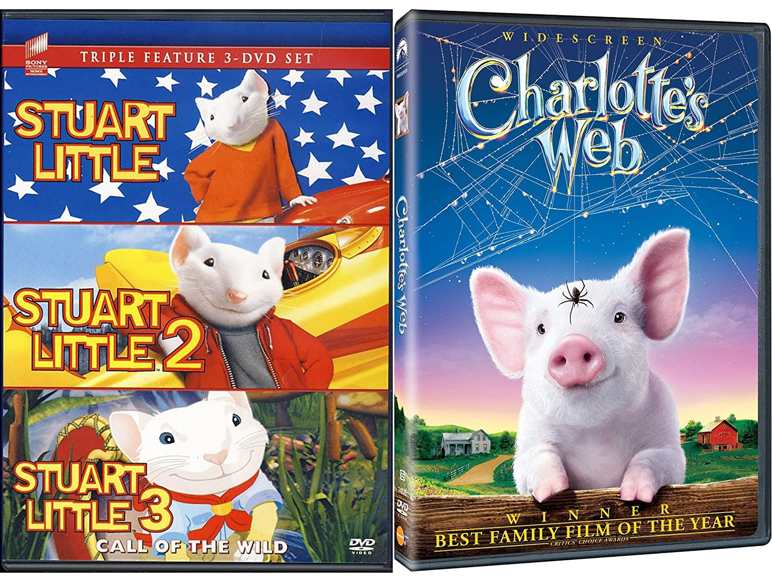 Amazon Com Charlottes Web Stuart Little Set 1 2 3 Call Of The Wild Animated Family 4 Movie Fun Michael J Fox Geena Davis Wayne Brady Julie Roberts Dakota Fanning Rob Minkoff Movies