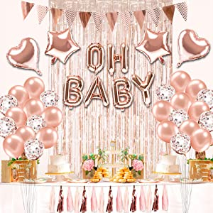 Sekcen Baby Shower Decorations for Girl 64 Pcs Rose Gold Girl Baby Shower Decor Kit with Foil & Confetti Balloons, Tassels, Triangle Flags