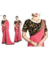 Saree Center Women's Georgette Saree (Akshara_Pink_Free Size)
