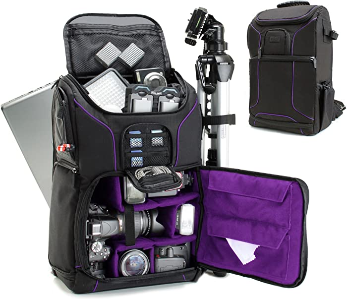 USA GEAR DSLR Camera Backpack Case (Purple) - 15.6 inch Laptop Compartment, Padded Custom Dividers, Tripod Holder, Rain Cover, Long-Lasting Durability and Storage Pockets - Compatible with Many DSLRs