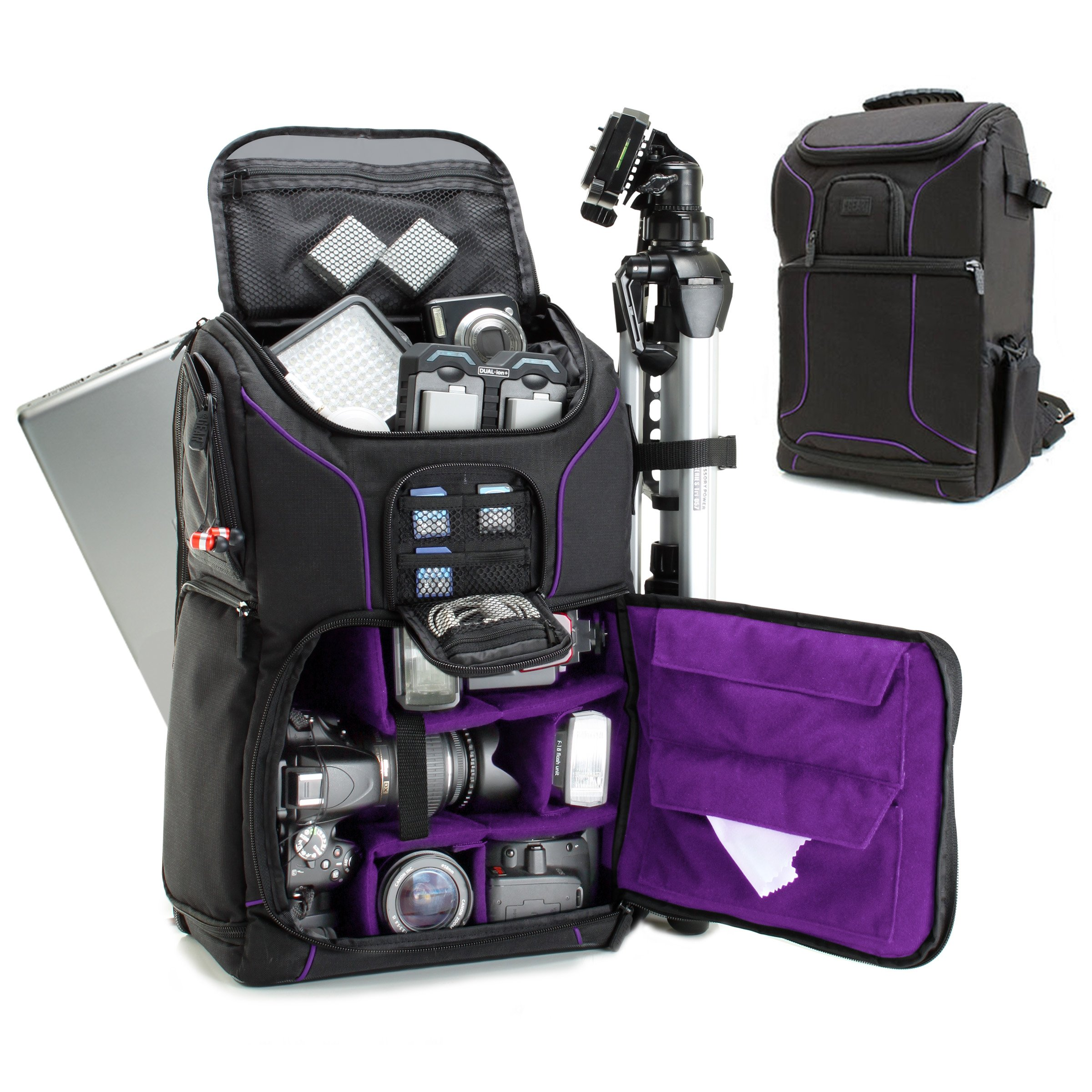 Digital SLR Camera Backpack (Purple) with 15.6'' Laptop Compartment by USA Gear features Padded Custom Dividers , Tripod Holder , Rain Cover and Storage for DSLR Cameras by Nikon , Canon , Sony & More