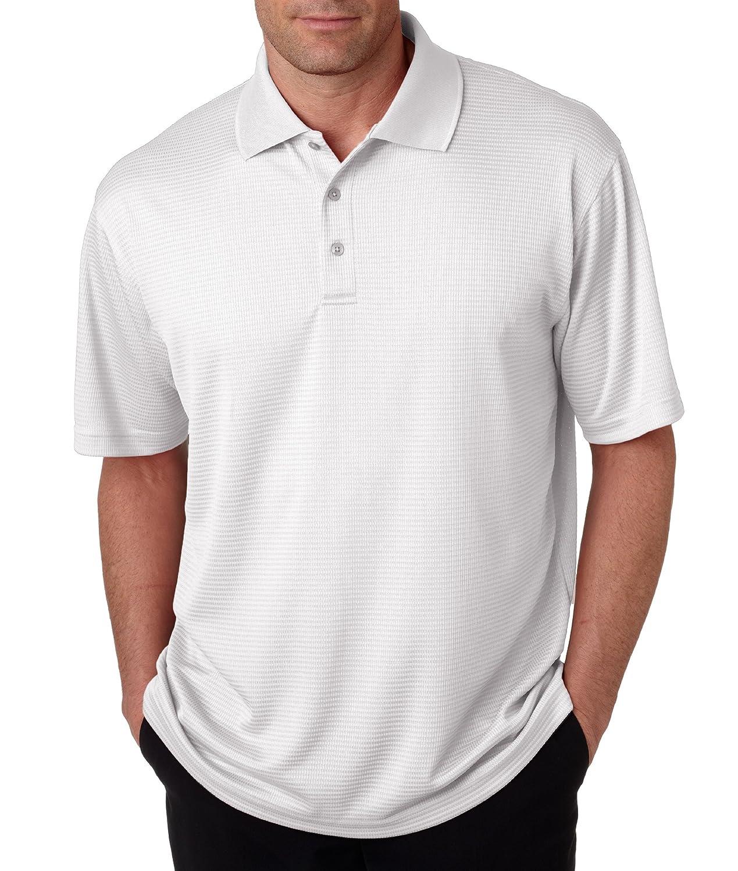 UltraClub Mens Dry Elite Mini-Check Jacquard Polo