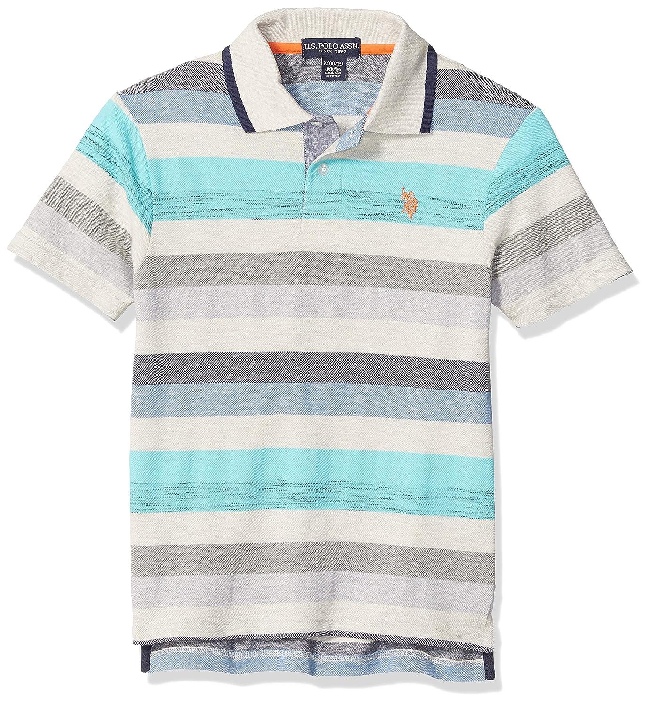 Boys Short Sleeve Heather Stripe Polo Shirt U.S POLO ASSN