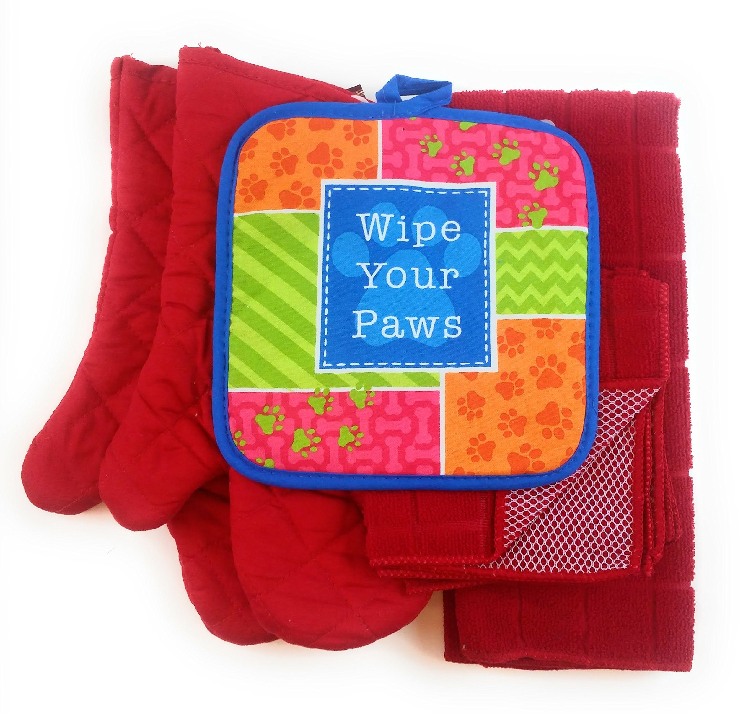 Wipe Your Paws Animal Lover 6 Piece Kitchen Linen Towel & Pot Holder Set