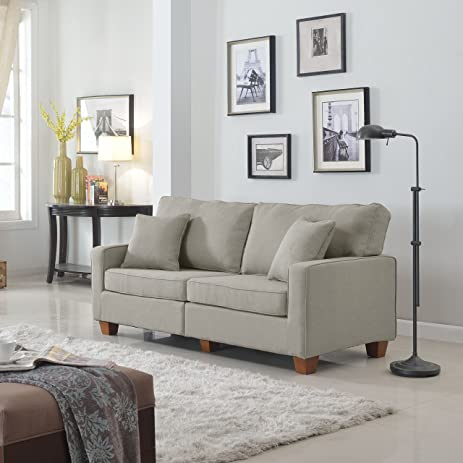 Classic 73 Inch Love Seat Living Room Linen Fabric Sofa In Colors Beige,  Brown
