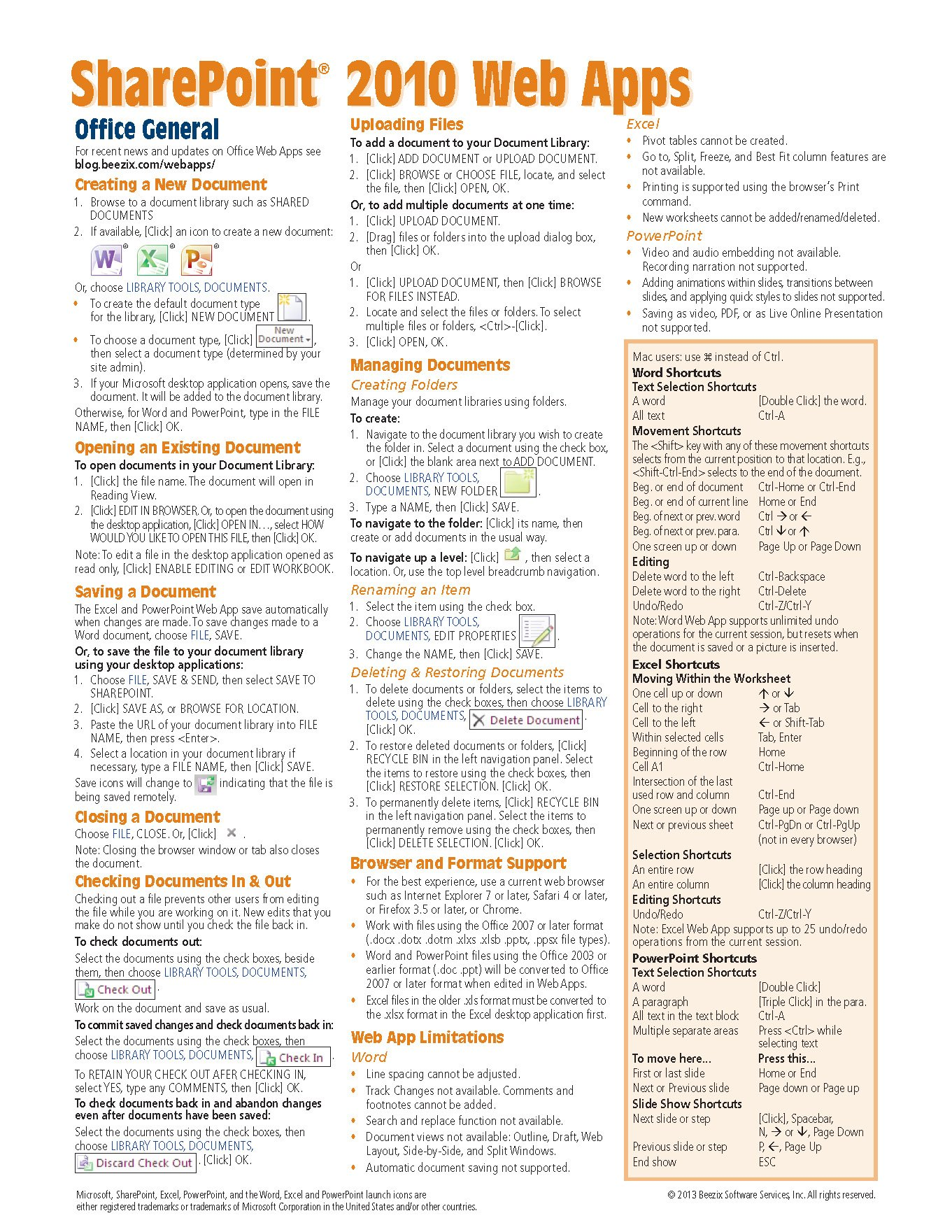 Microsoft SharePoint 2010 Web Apps Quick Reference Guide (Cheat Sheet of Instructions, Tips & Shortcuts - Laminated Card)