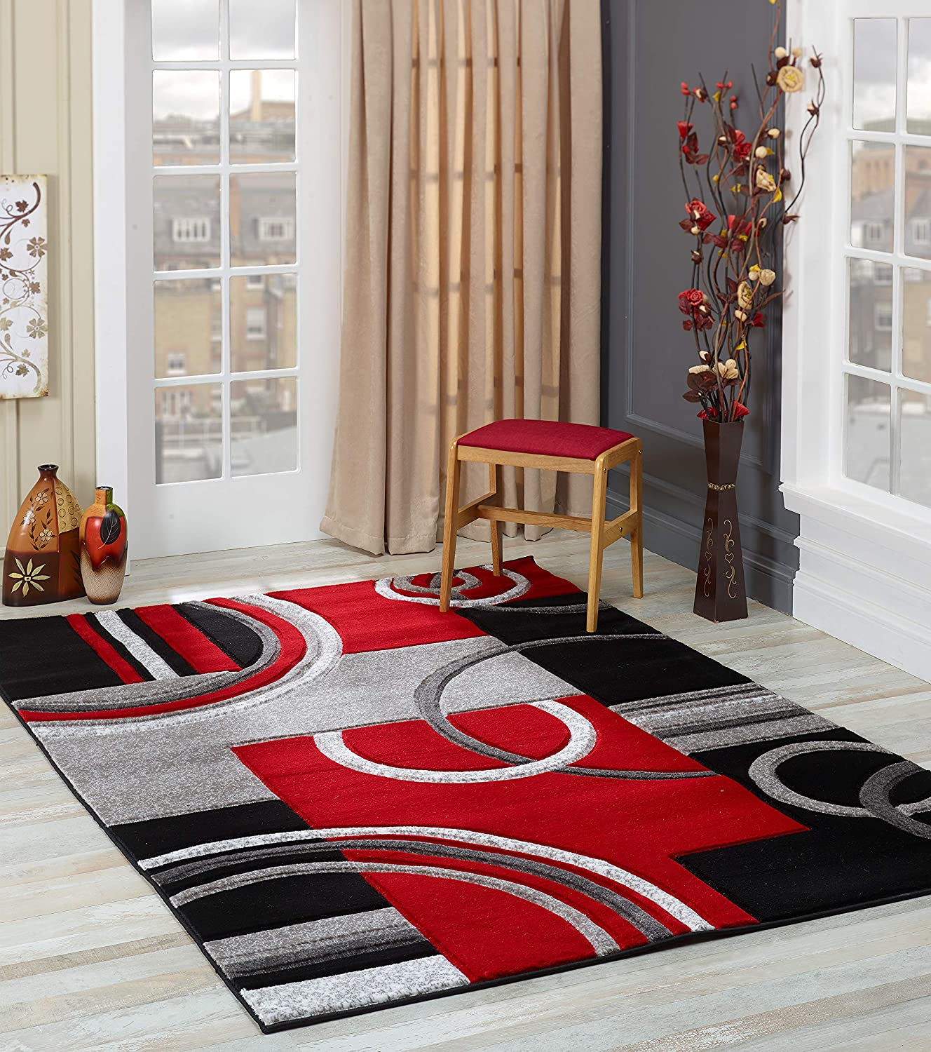 Amazon Com Glory Rugs Area Rug Modern 5x7 Red Soft Hand Carved Contemporary Floor Carpet With Premium Fluffy Texture For Indoor Living Dining Room And Bedroom Area Home Kitchen