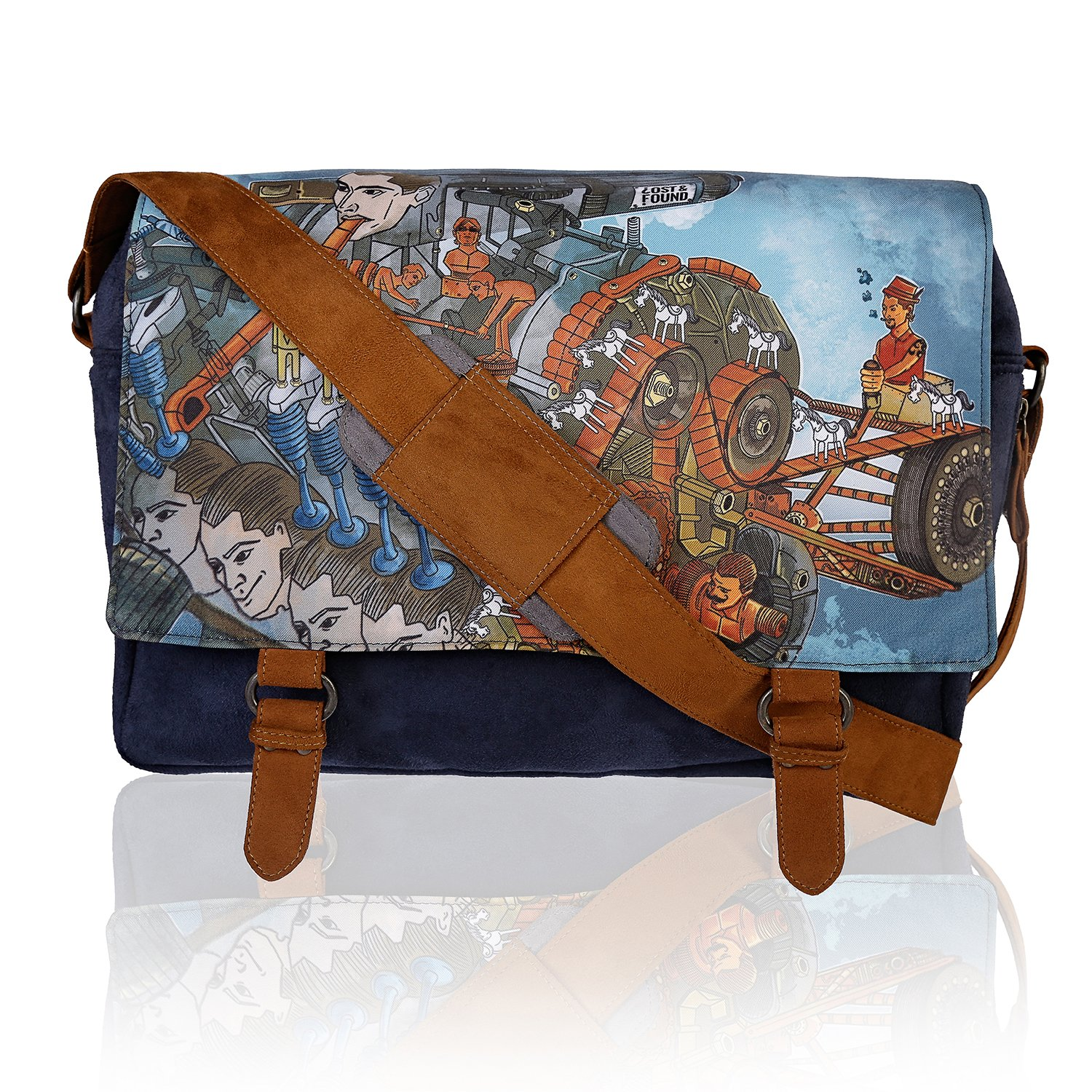 Lost /& Found Mighty Blue Unisex Suede Messenger Sling Bag