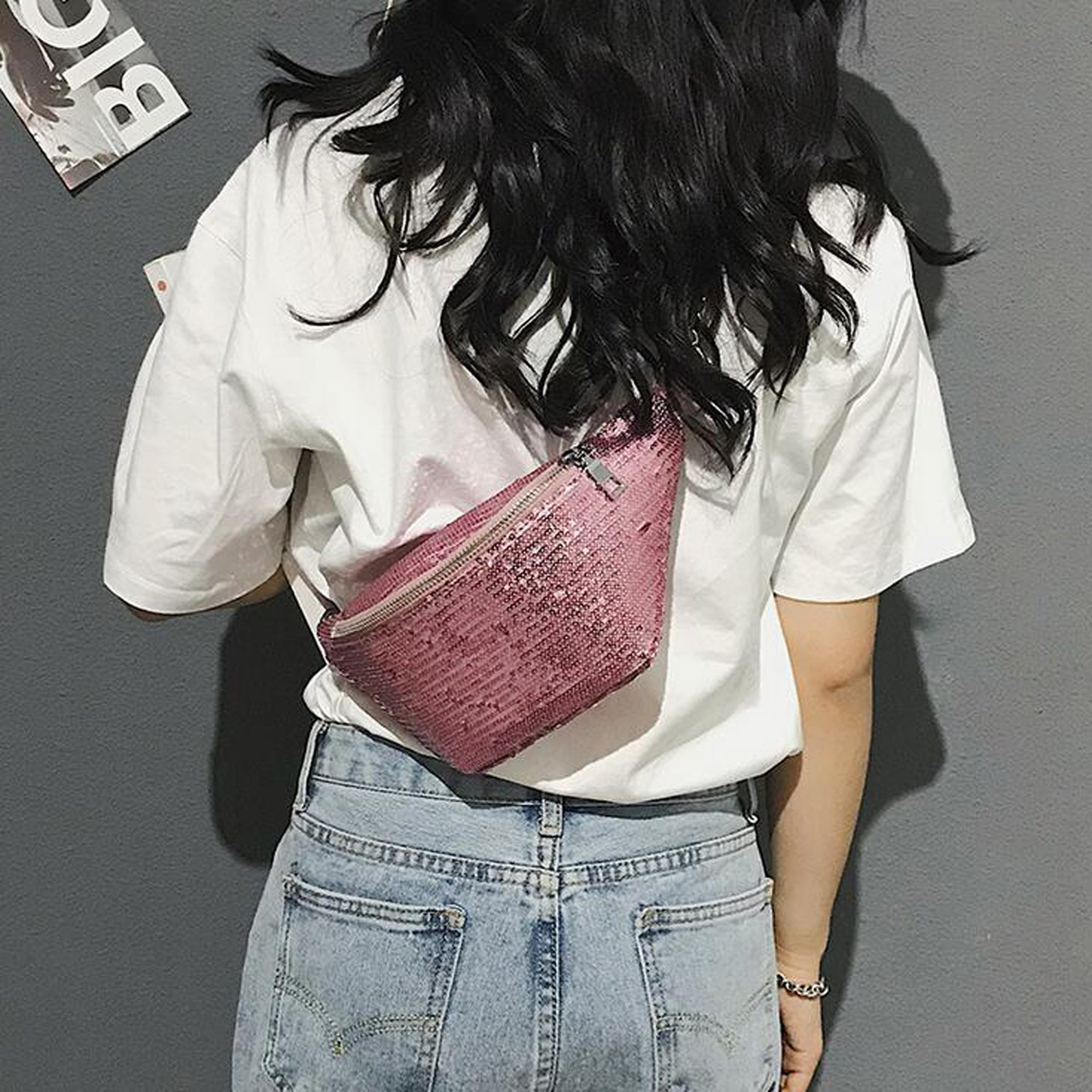 Womens Sequined Waist Fanny Pack Belt Pouch Sling Chest Bag Crossbody Hip Purse (pink) by JIANBAO (Image #4)