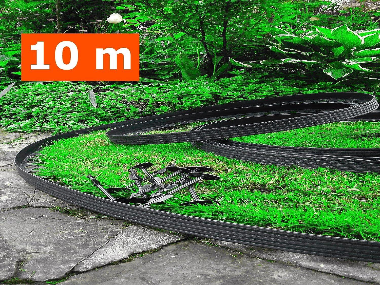 10 mètres - plastique souple bordures de pelouse avec 60 ...