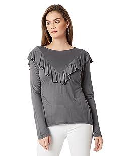 Miss Chase Women's Plain Regular Fit Top (MCAW16TP06-97-17_Grey_Medium)