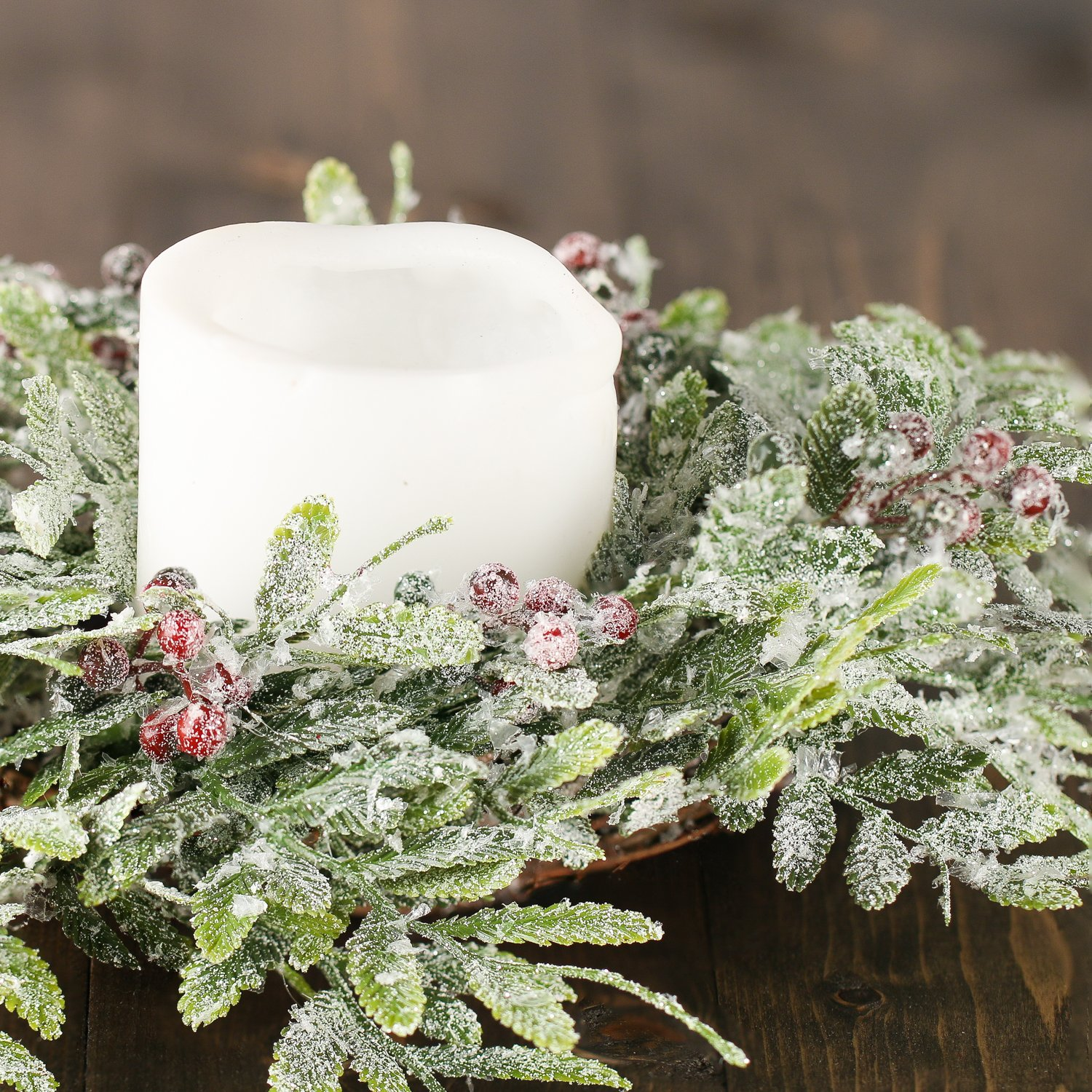 Factory Direct Craft Pair of Artificial Frosted And Berry Fern Candle Rings for Holiday and Home Decor by Factory Direct Craft