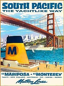 South Pacific The Yachtlike Way Tahiti - New Zealand - Australia - Fiji - Samoa - Hawaii Matson Lines Vintage Oceanliner Travel Advertisement Art Poster Print. Poster measures 10 x 13.5 inches