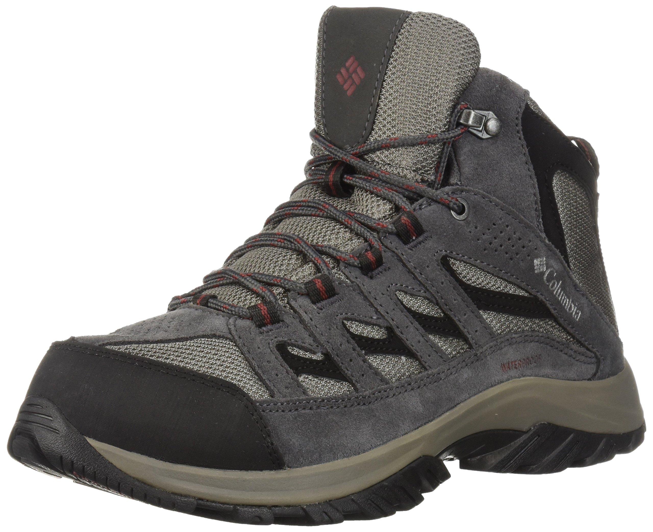 Columbia Men's Crestwood MID Waterproof Hiking Boot, Quarry, Deep Rust, 14 Wide US