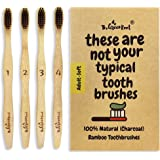 Natural Bamboo Charcoal Toothbrush for Adults W/BPA Free Nylon Bristles, Individually Numbered Pack of 4, Organic & Compostable Toothbrushes, Plastic Free Packaging