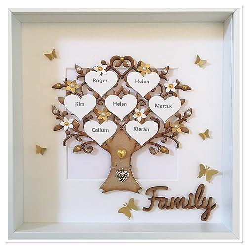 Personalisierte Gold Familie Baum Rahmen Handgefertigt Bild 3d