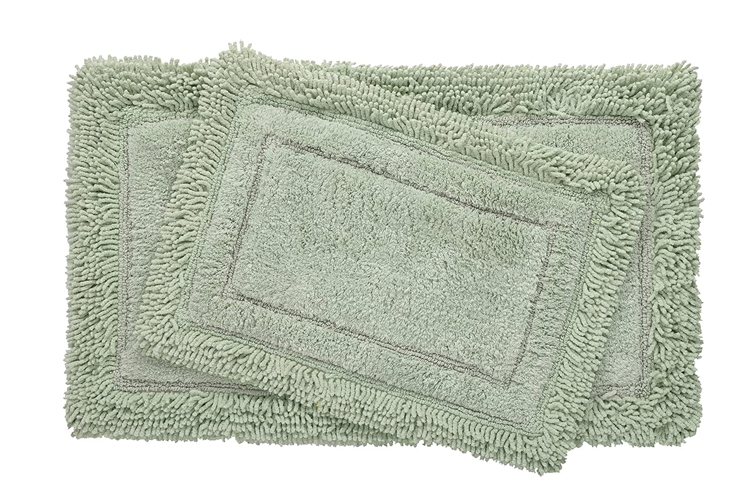 Bed Bath Fashions Savoy Shaggy 2 Piece 100% Cotton Bath Rug Set with Non-Skid Spray Latex Backing - Super Soft Luxurious Plush Shower Mats - 6 Colors (Sage)