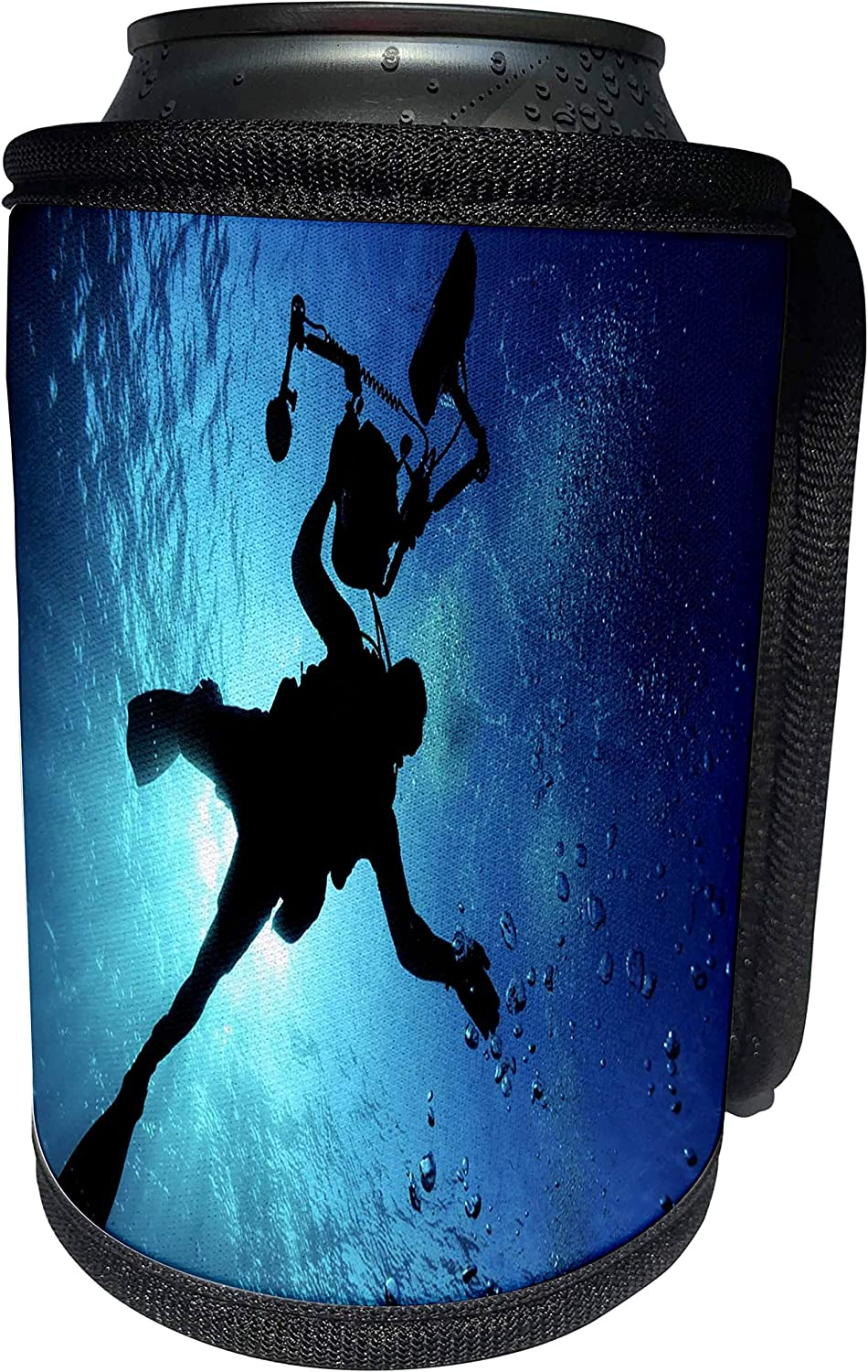 3dRose Underwater Diver - Image of Underwater Diver and Cameraman - Can Cooler Bottle Wrap (cc_256318_1)