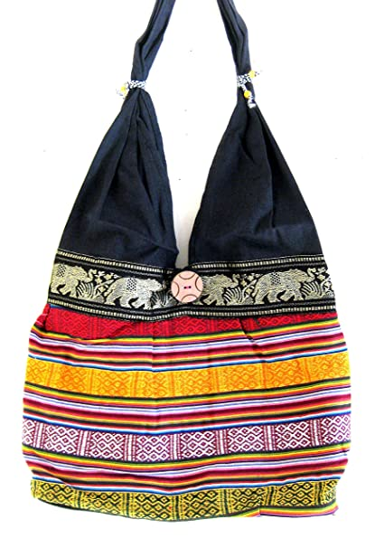 864df7df2dbd Image Unavailable. Image not available for. Color  OMA Hippy Boho Bohemian  Sling Crossbody Shoulder Bag Elephant ...