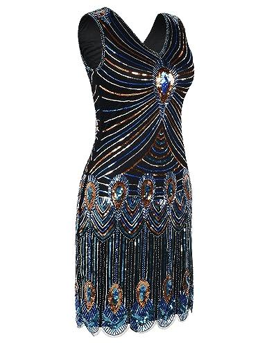 kayamiya Mujer Flecos de lentejuelas patrón de pavo real de cuentas 1920s Gatsby Flapper Dress: Amazon.es: Ropa y accesorios