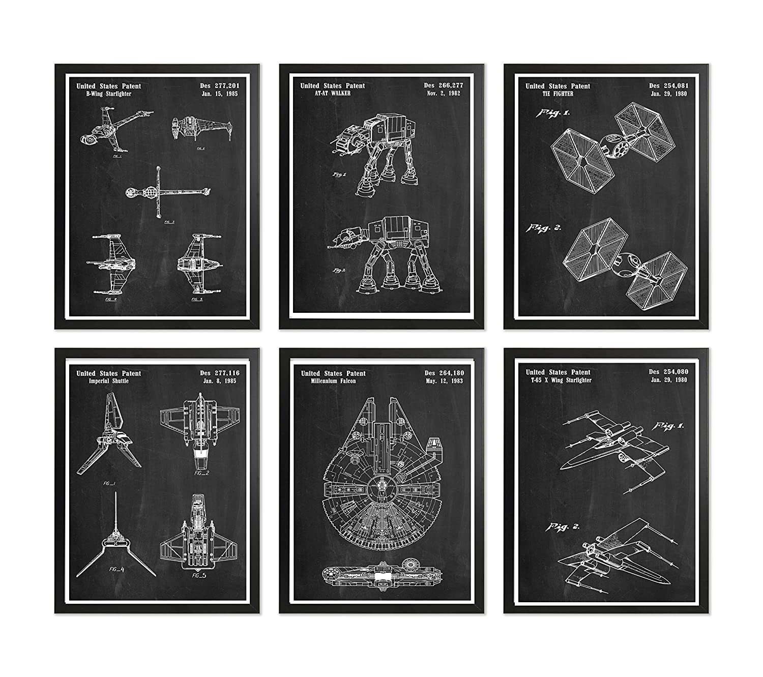 Framed Star Wars Patent Poster Super Set Chalkboard Star Wars Space Crafts Wall Art Prints B Wing Home Decor X Wing Room Decor Millennium Falcon Tie Fighter AT-AT Walker Imperial Shuttle House Decor