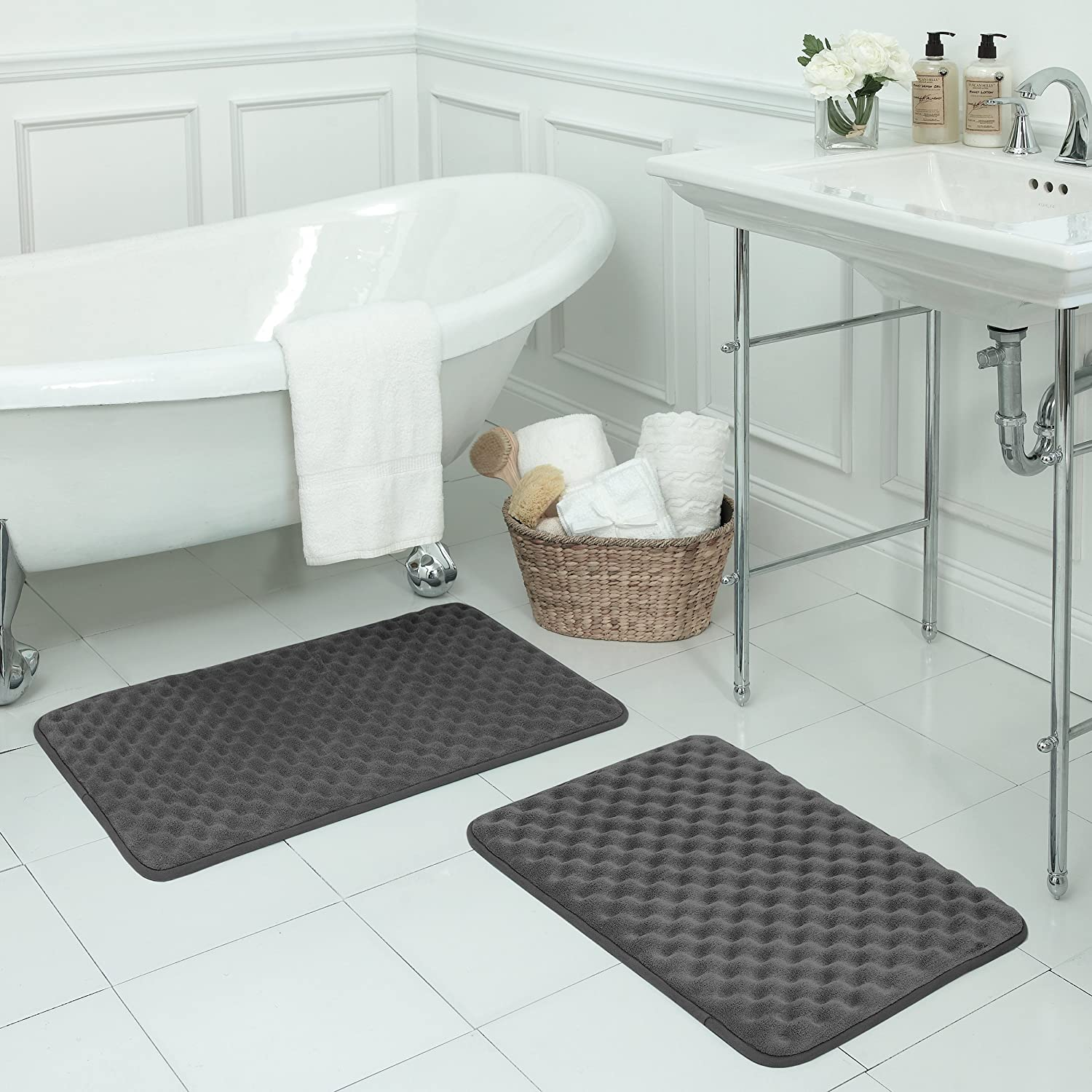 Amazon.com: Bounce Comfort Extra Thick Memory Foam Bath Mat ...