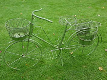 New Shabby Chic Antique Green Bicycle Bike Planter Plant Garden Decoration  2406