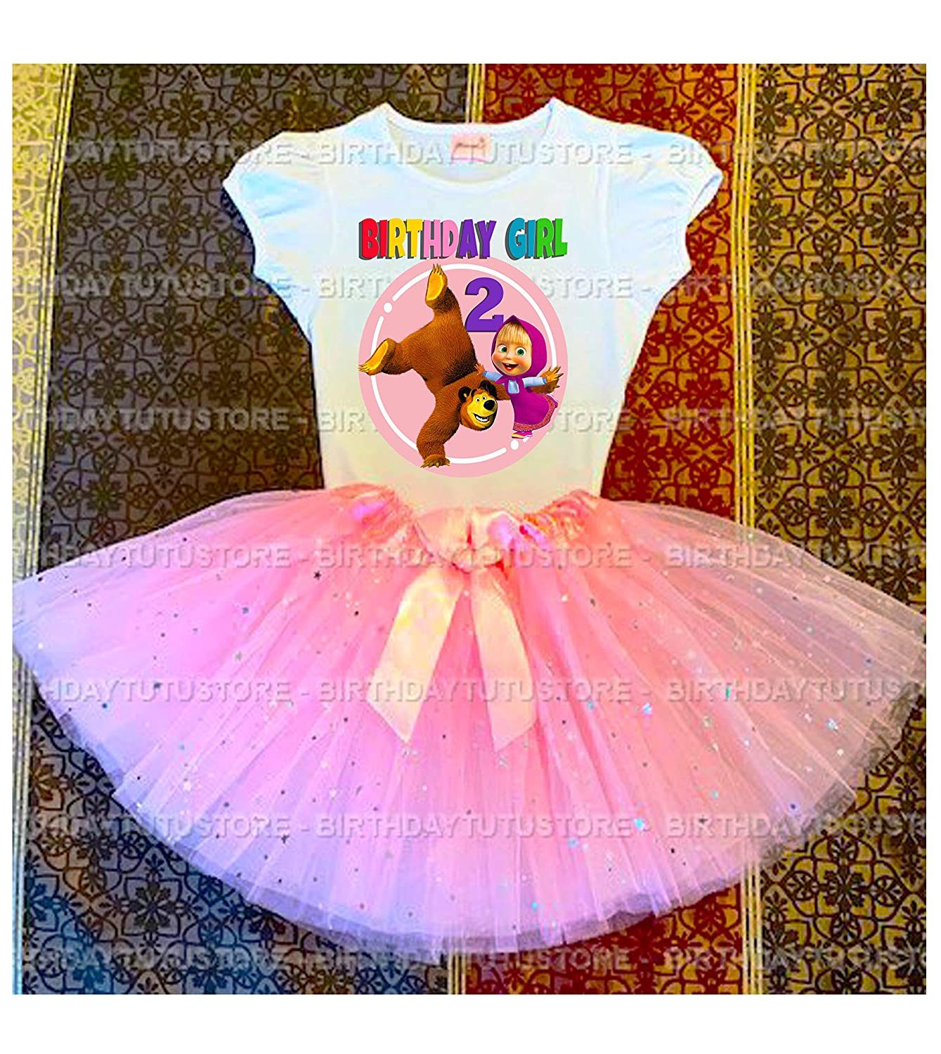 Masha and the Bear Party 4th Birthday Tutu Outfit Personalized Name option